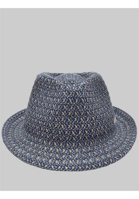Women's Accessories Hat in Hemp and Woven Fabric Blue and Taupe Seeberger Est 1890 | Hats | 0803516086