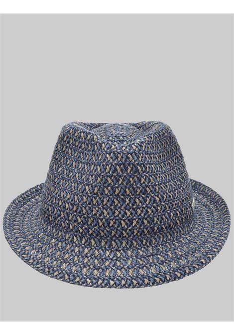 Accessori Donna Cappello in Canapa e Tessuto Intrecciato Colore Blu e Taupe Seeberger Est 1890 | Cappelli | 0803516086