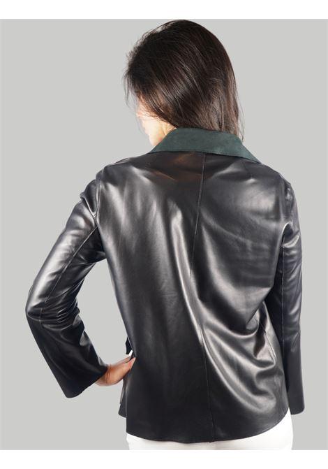 Abbigliamento Donna Giacca in Pelle Nera Sfoderata con Bottoni Vintage Spatarella | Giacche e giubbini | 1527001