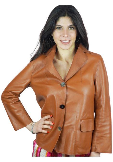 Abbigliamento Donna Giacca in Pelle Cuoio Sfoderata con Bottoni Vintage Spatarella | Giacche e giubbini | 1527014
