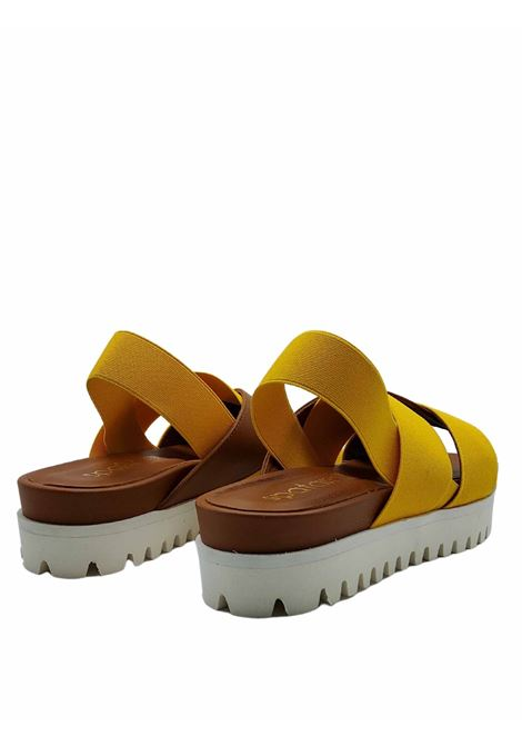 Women's Shoes Sandals in Tan Leather and Mustard Elastic Fabric with Wedge in Carrarmato Rubber Spatarella | Wedge Sandals | 2002014