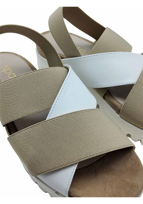 Women's Shoes Sandals in White Leather and Taupe Elastic Fabric with Wedge in Carrarmato Rubber Spatarella | Wedge Sandals | 2002100