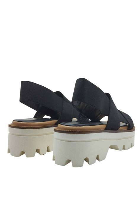 Women's Shoes Black Elastic Sandals with Back Strap and Carrarmato Bottom Spatarella | Wedge Sandals | 2010001