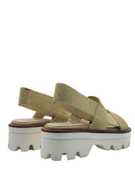 Women's Shoes Sandals in Gold Laminated Elastic with Back Strap and Carrarmato Bottom Spatarella | Wedge Sandals | 2010602