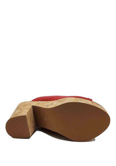 Calzature Donna Sandali in Pelle Rossa con Fiocchi e Zeppa Alta in Sughero Spatarella | Sandali | 2075017