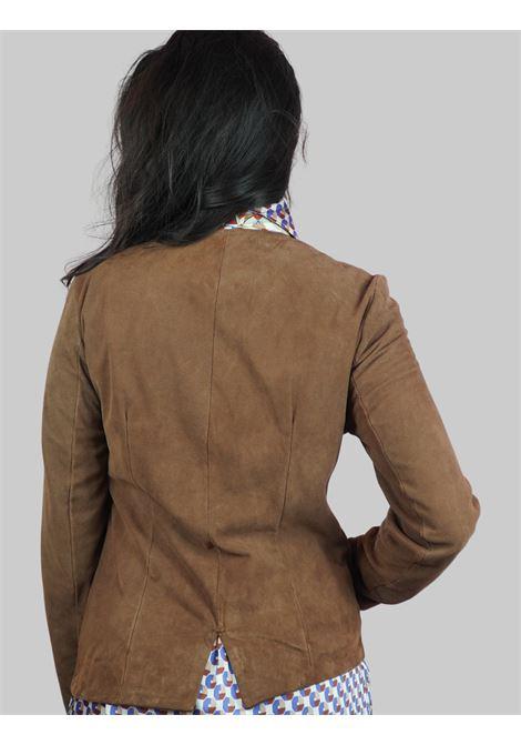Abbigliamento Donna Giacca  in Camoscio Cognac Sfoderato Con Incrocio Sul Davanti Spatarella | Giacche e giubbini | 2151014
