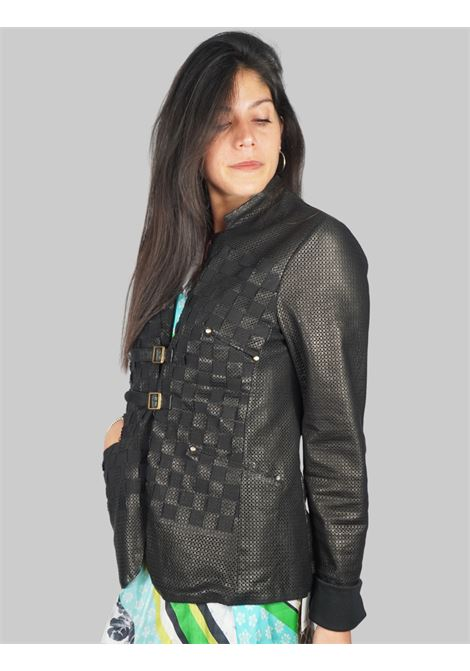 Women's Clothing Mud Perforated Leather Jacket with Straps and Buckles Spatarella |  | 2152001
