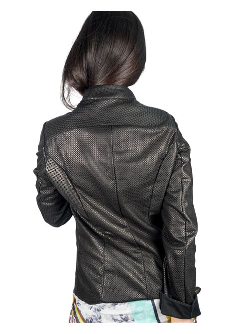 Abbigliamento Donna Giacca in Pelle Forata Fango con Cinturini e Fibbiette Spatarella | Giacche e giubbini | 2152001