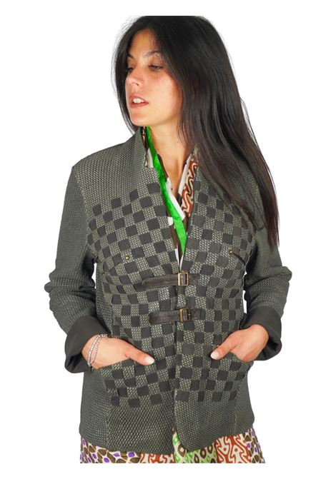 Abbigliamento Donna Giacca in Pelle Forata Fango con Cinturini e Fibbiette Spatarella | Giacche e giubbini | 2152021