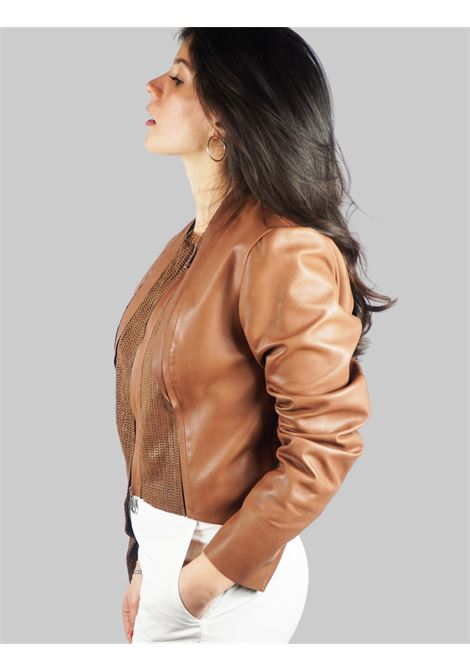 Women's Clothing Bolerino Jacket in Leather with Tone Leather Insert on the Front Spatarella |  | 2154014