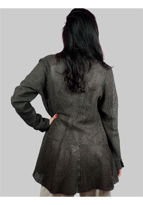 Abbigliamento Donna Giacca in Pelle Marrone Forata Senza Bottoni e Manica Lunga Spatarella | Giacche e giubbini | 2156014