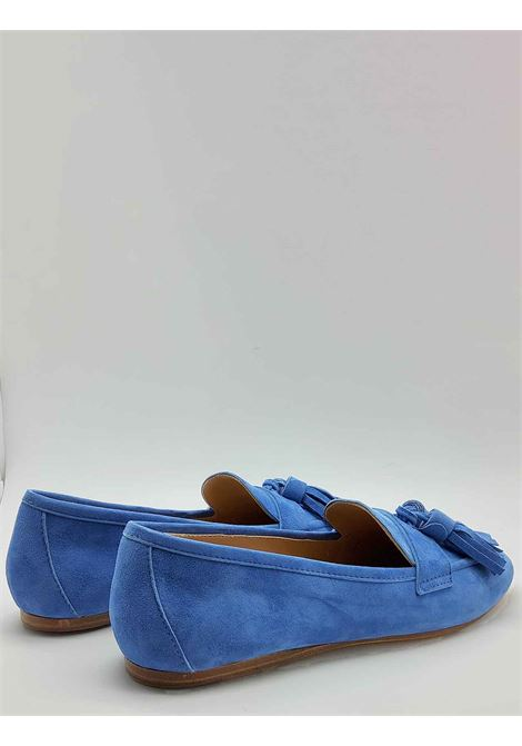 Women's Shoes Moccasins in Sky Suede with Bows and Ultra Flexible Leather Bottom Spatarella | Mocassins | 404026