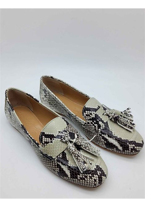 Women's Shoes Python Print Leather Loafers with Bows and Ultra Flexible Leather Bottom Spatarella | Mocassins | 404502