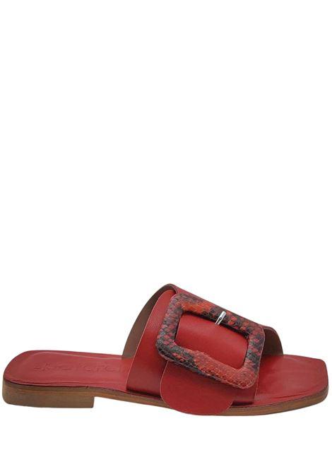 Calzature Donna Sandali Bassi in Pelle Rossa ad Incrocio con Fibbia Rivestita in Pitone Tono Su Tono Spatarella | Sandali Flat | DI15017