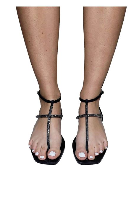 Calzature Donna Sandali Infradito In Camoscio Nero E Strass Tono su Tono E Cinturino Posteriore Spatarella | Sandali Flat | DI81001