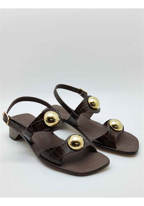 Women's Shoes Sandals With Heel in Brown Coconut Leather Double Band With Gold Studs And Back Strap Spatarella | Sandals | DL10013