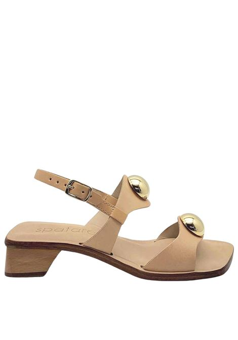 Women's Shoes Heeled Sandals in Nude Leather Double Band With Gold Studs And Back Strap Spatarella | Sandals | DL10300