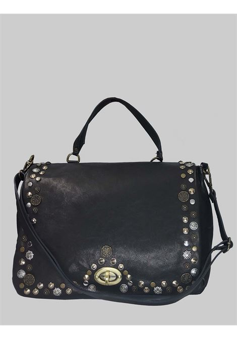 Woman Shoulder Bag in Black Leather with Studs and Adjustable Leather Shoulder Strap Spatarella | Bags and backpacks | FIONA001
