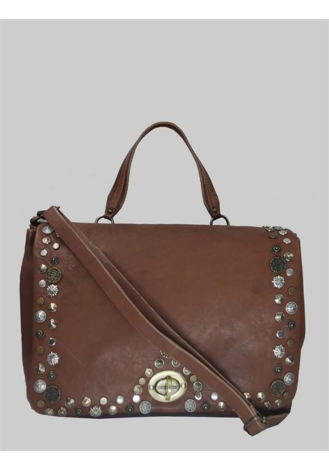 Woman Shoulder Bag in Tan Leather with Studs and Adjustable Leather Shoulder Strap Spatarella | Bags and backpacks | FIONA014