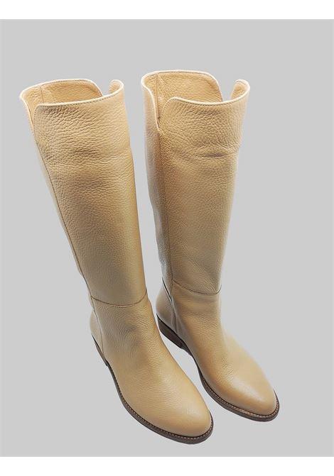 Calzature Donna Stivali a Tubo in Pelle Sfoderati Camel Fondo Cuoio Spatarella | Stivali | FIOREB025