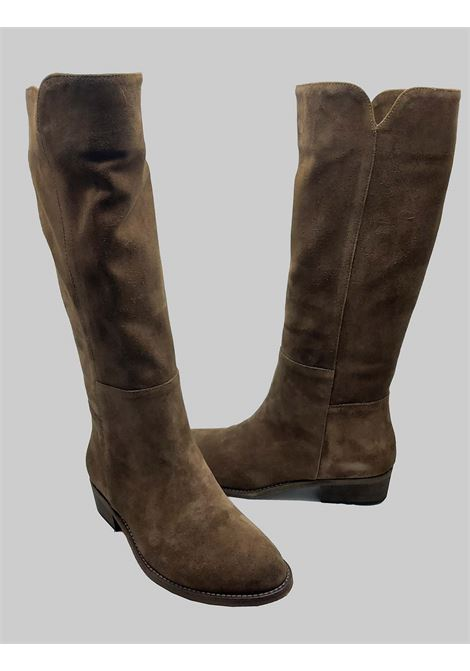 Women's Shoes Tube Boots in Unlined Taupe Suede Leather Bottom Spatarella | Boots | FIOREB029