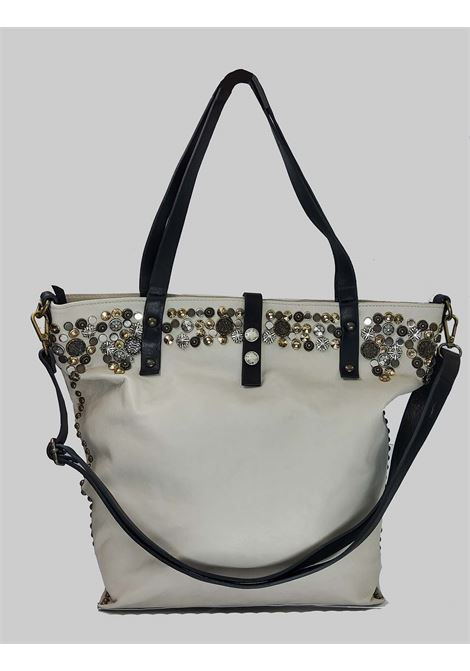 Woman Shopping Bag in Cream Leather with Studs and Adjustable Leather Shoulder Strap Spatarella | Bags and backpacks | INES016