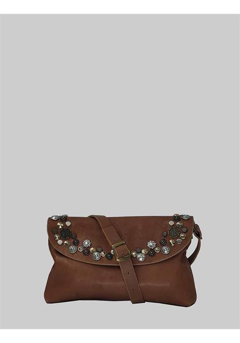 Woman Bag Small Clutch Bag in Tan Leather with Studs and Adjustable Leather Shoulder Strap Spatarella | Bags and backpacks | LOLA014