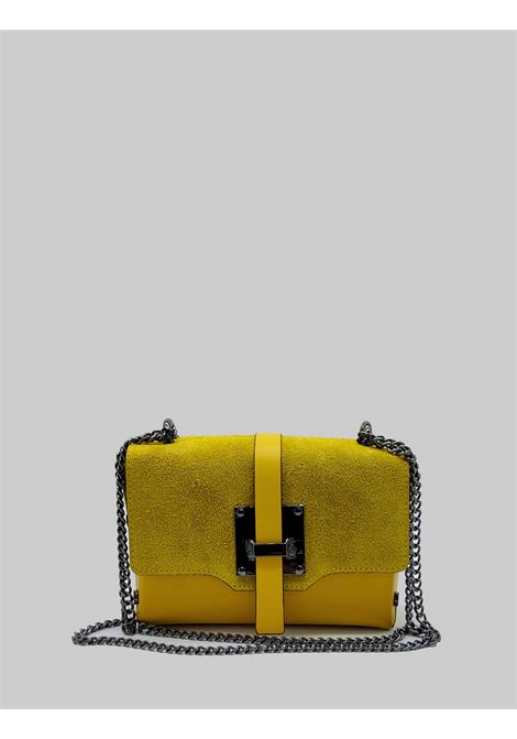 Woman Shoulder Bags in Mustard Leather and Suede with Gunmetal Chain Spatarella | Bags and backpacks | PE0203007