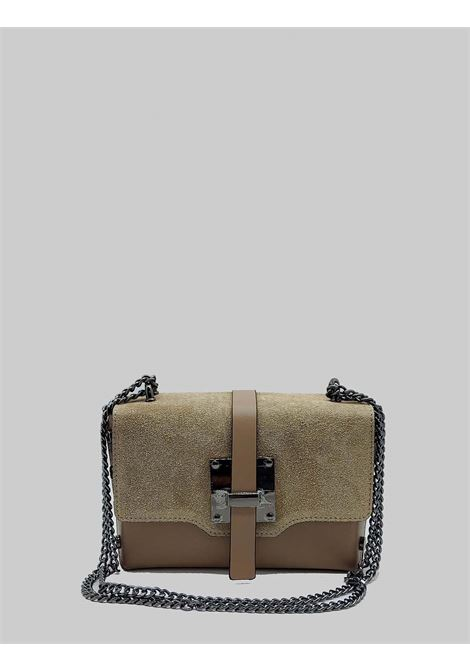 Women's Shoulder Bags in Taupe Leather and Suede with Gunmetal Chain Spatarella | Bags and backpacks | PE0203023