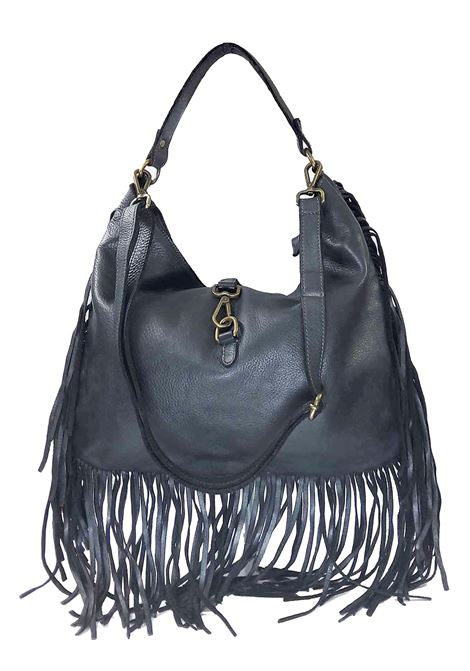 Women's Black Leather Shoulder Shopping Bags with Fringes and Removable Shoulder Strap Spatarella | Bags and backpacks | PE0207001