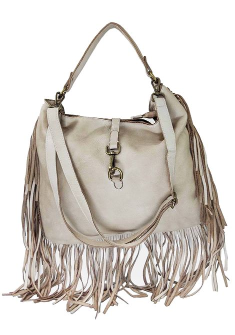 Women's Nude Leather Shoulder Shopping Bags with Fringes and Removable Shoulder Strap Spatarella | Bags and backpacks | PE0207300