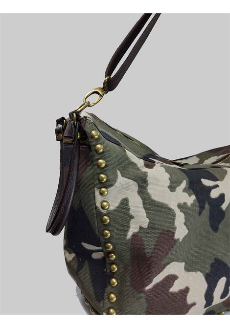 Women's Bags in Camouflage Fabric and Dark Brown Leather with Studs, Double Handles and Removable Shoulder Strap Spatarella | Bags and backpacks | PE0209006