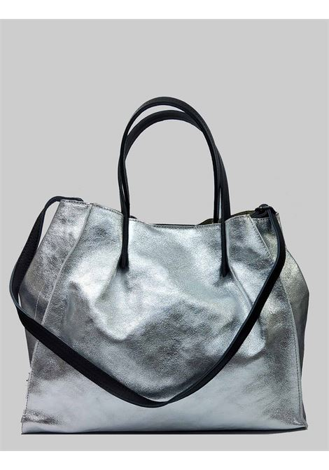 Woman Bags in Silver Laminated Leather with Double Handles and Removable Shoulder Strap Spatarella | Bags and backpacks | PE0212604