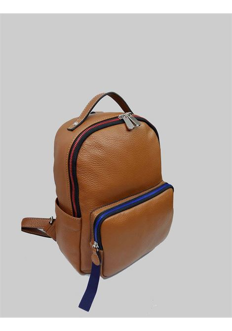 Woman Backpacks in Tan Leather with Multicolor Closure Zip Spatarella | Bags and backpacks | PE0215014