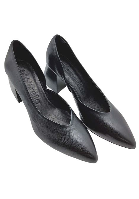 Women's Shoes Black Leather Décolleté with Leather Heel and Pointed Toe Spatarella | Pumps | SP30001