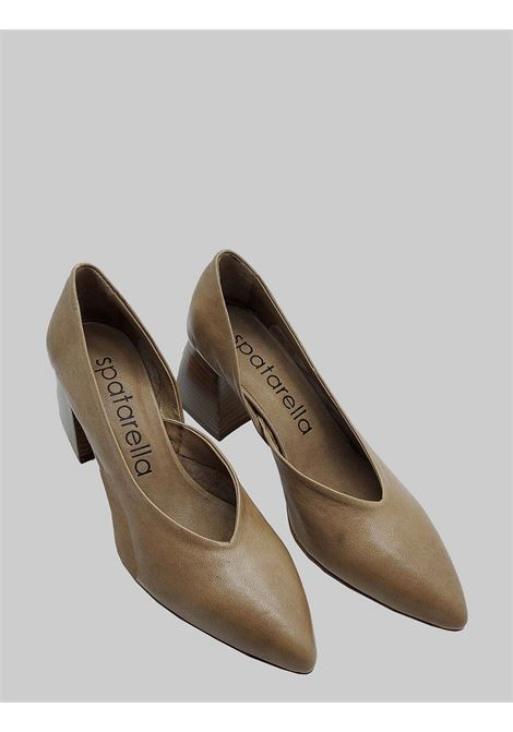 Women's Shoes Décolleté in Taupe Leather with Leather Heel and Pointed Toe Spatarella | Pumps | SP30023