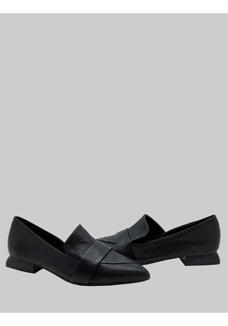Women's Shoes Black Leather Moccasins with Leather Heel and Asymmetrical Flap Spatarella | Mocassins | SP40001