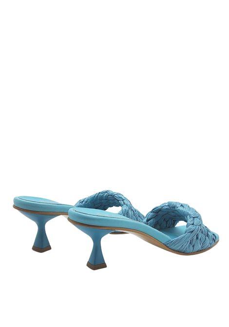 Calzature Donna Sandali Scalzati in Rafia Intrecciata Celeste a Punta Quadra Spatarella | Sandali | SUNNY04035
