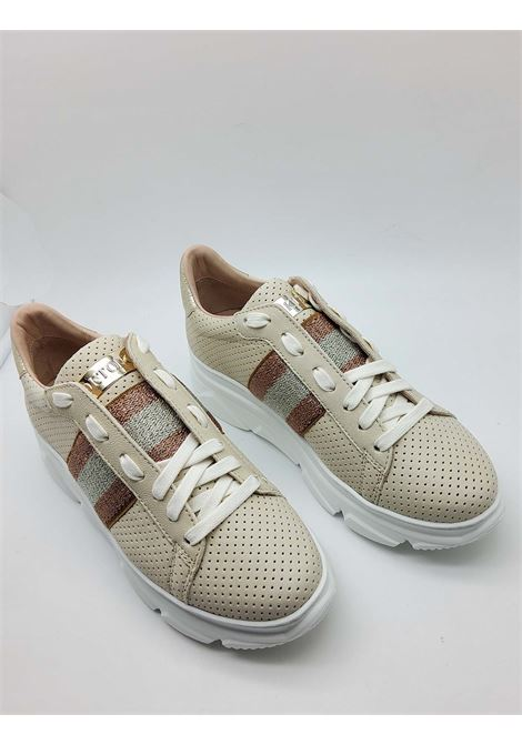 Women's Shoes Sneakers in Perforated Natural Leather with Lateral Laminated Band and Rubber Wedge Bottom Stokton | Sneakers | 650-D200