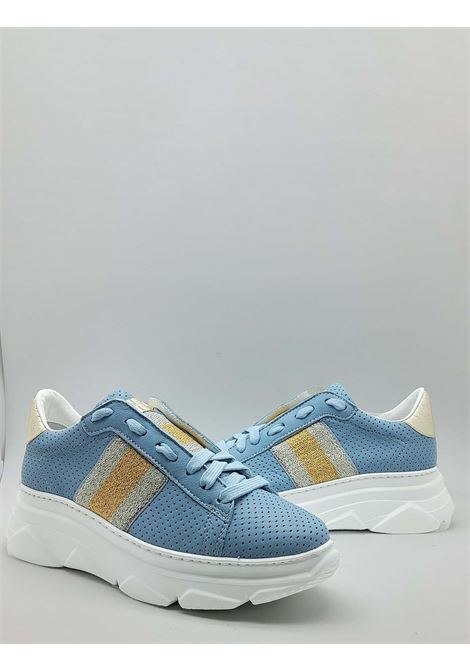 Women's Shoes Sneakers in Perforated Light Blue Leather with Lateral Laminated Band and Rubber Wedge Bottom Stokton | Sneakers | 650-D400