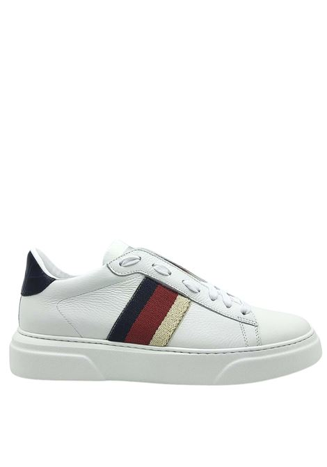 Men's Shoes Sneakers in White Leather with Side Bands and Ultra Light Bottom Stokton | Sneakers | 650-U100