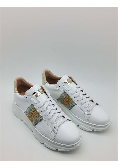 Women's Shoes Sneakers in White Leather with Lateral Laminated Band and Rubber Wedge Bottom Stokton | Sneakers | 758-D100