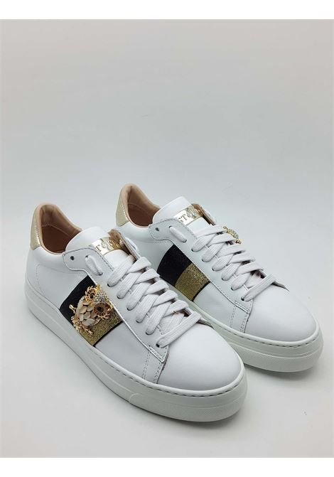 Women's Shoes Sneakers in White Leather with Side Jewel and Rubber Wedge Bottom Stokton | Sneakers | 808-D100