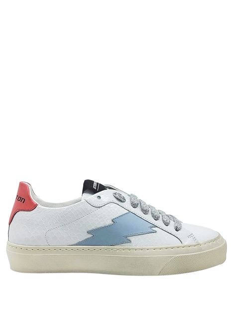 Women's Shoes Sneakers Off White i n Python Print Leather with Side Logo and Vintage Rubber Bottom Stokton | Sneakers | BLAZE-D100