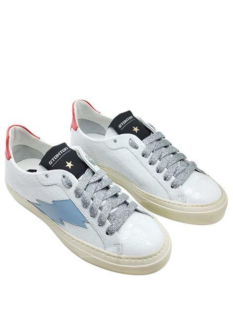 Calzature Donna Sneakers in Pelle Stampa Pitone Bianco Opaco con Logo Laterale e Fondo Vintage in Gomma Stokton | Sneakers | BLAZE-D100