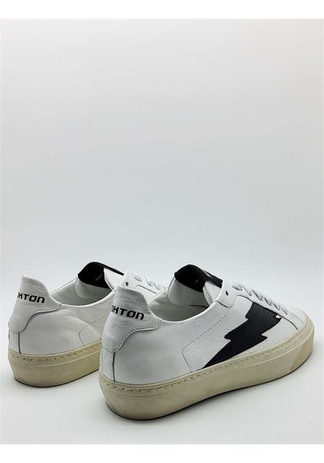 Women's Shoes Sneakers in White Leather with Black Side Logo and Vintage Rubber Bottom Stokton | Sneakers | BLAZE-D900