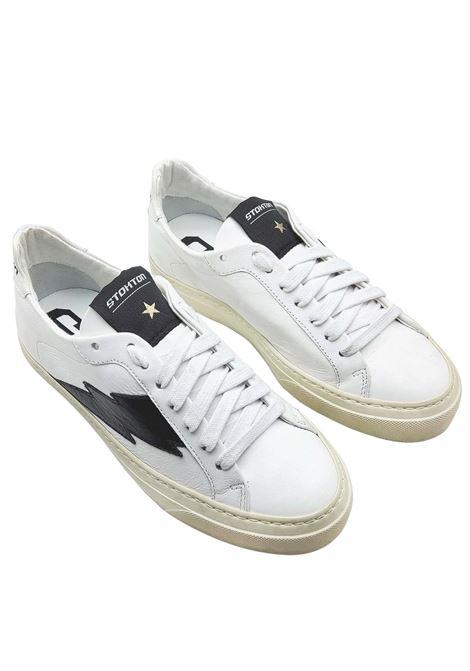 Calzature Donna Sneakers in Pelle Bianca con Logo Laterale Nero e Fondo Vintage in Gomma Stokton | Sneakers | BLAZE-D900