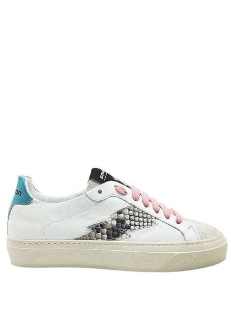 Women's Shoes Sneakers in White Leather with Side Logo in Python and Vintage Rubber Bottom Stokton | Sneakers | BLAZE-D903