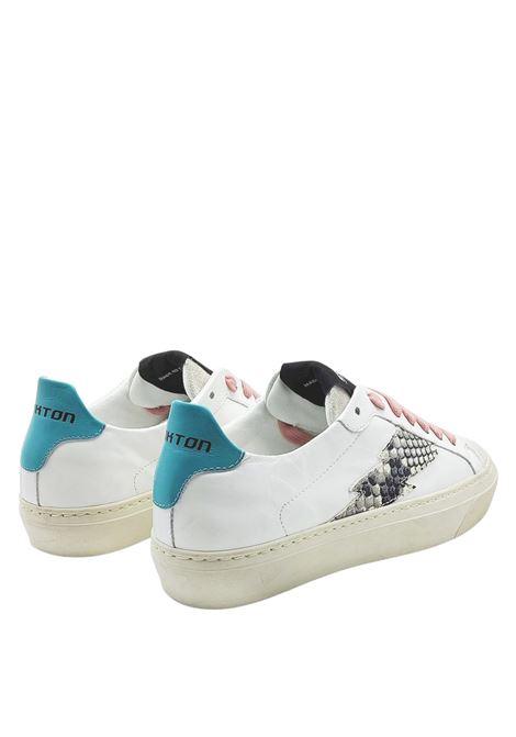 Calzature Donna Sneakers in Pelle Bianca con Logo Laterale in Pitone e Fondo Vintage in Gomma Stokton | Sneakers | BLAZE-D903