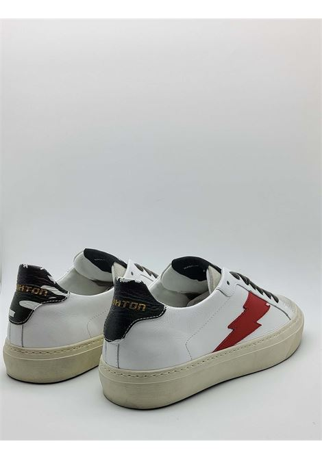 Men's Shoes Sneakers Off White in Leather and Suede with Side Logo and Vintage Rubber Bottom Stokton | Sneakers | BLAZE-U100